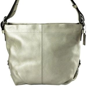 Coach silver pebbled  leather purse